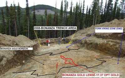 Gold Zones at Bonanza Trench