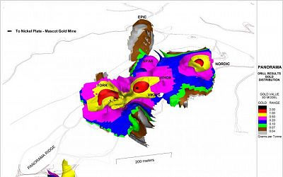 3d Gold Grade Distribution Looking North East