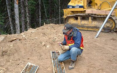 Grant Crooker, Project Manager with core samples